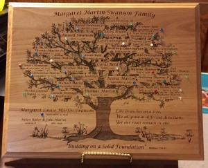 Margret Martin Swanson Family Tree Plaque