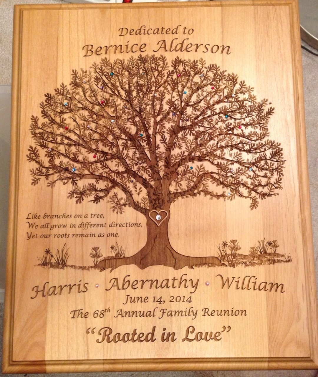Bernice Alderson Plaque for the 68th Family Reunion