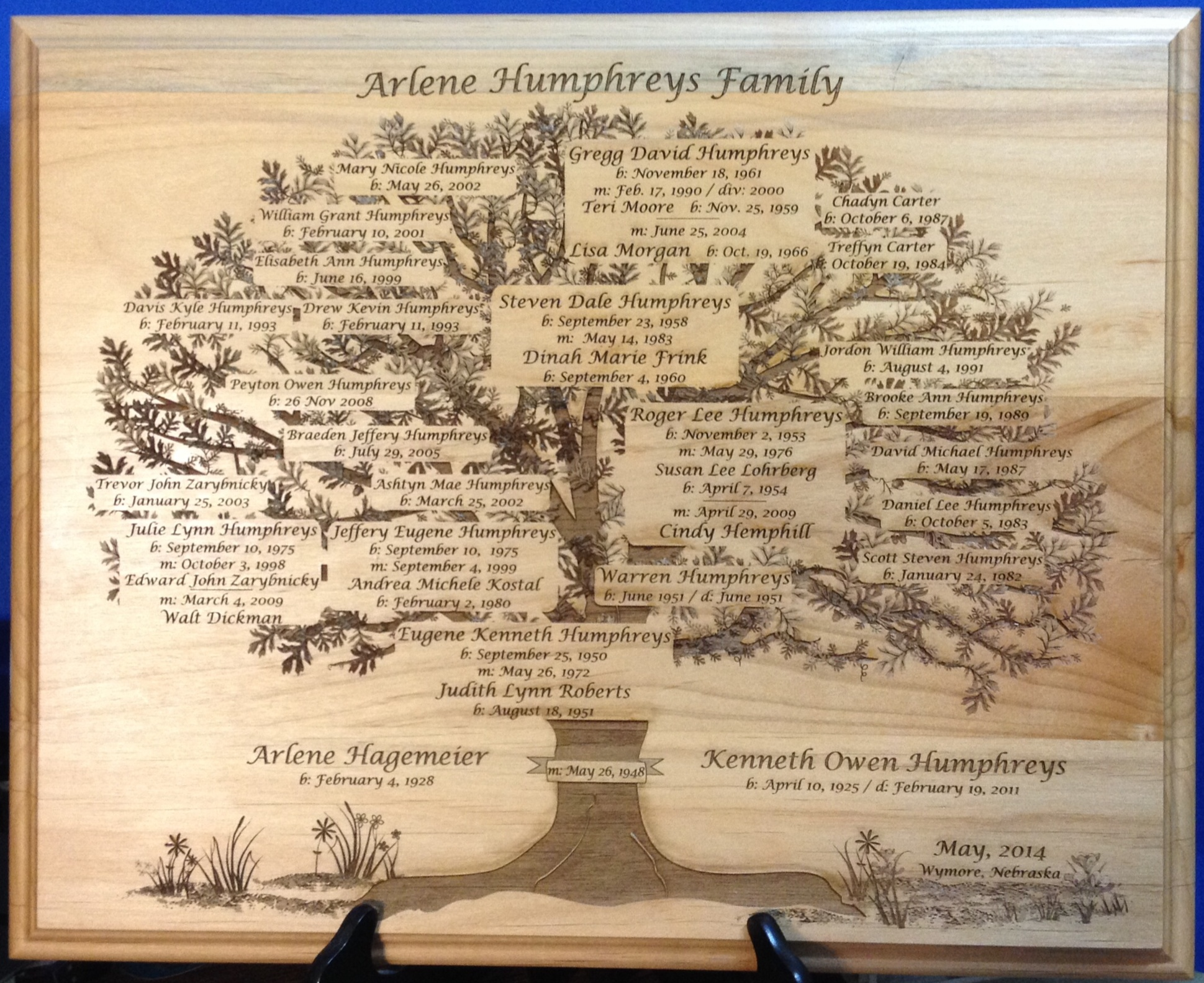 Arline Humphreys Family Tree Plaque