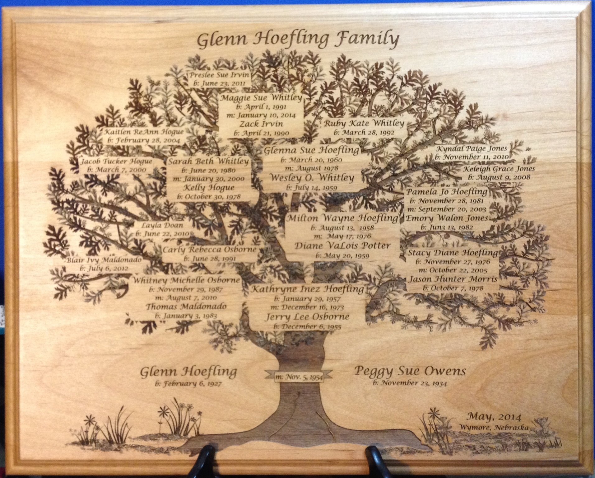 Glen Hoefling Family Tree Plaque