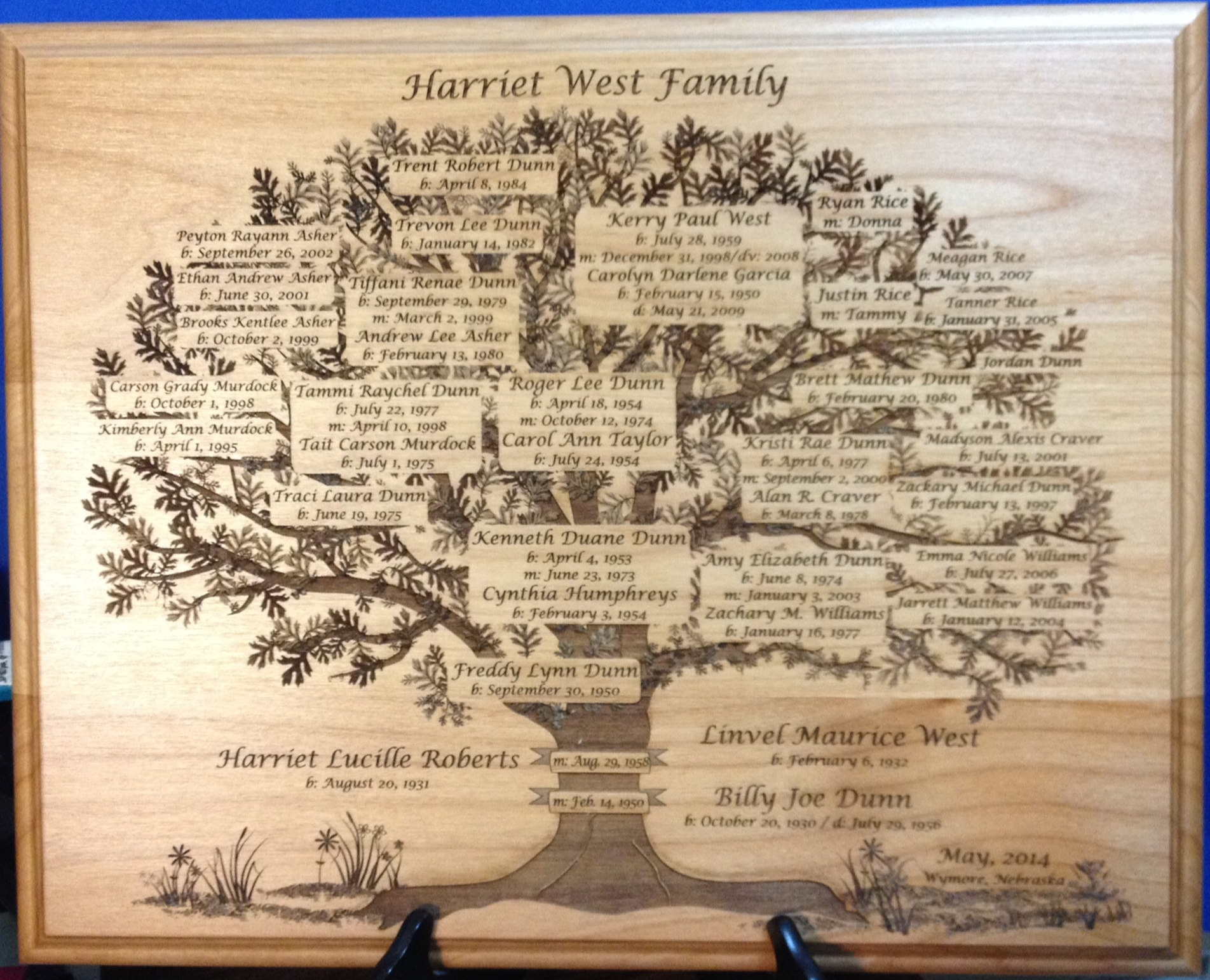 Harriet West Family Tree Plaque