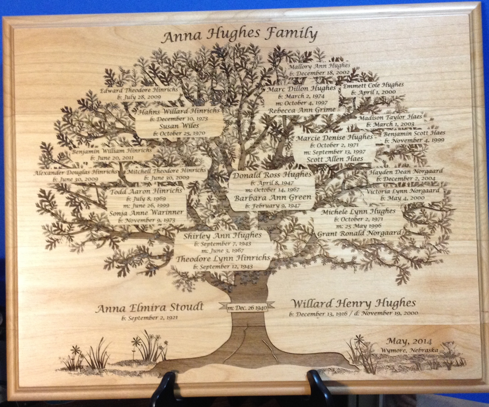 Anna Hughes Family Tree Plaque