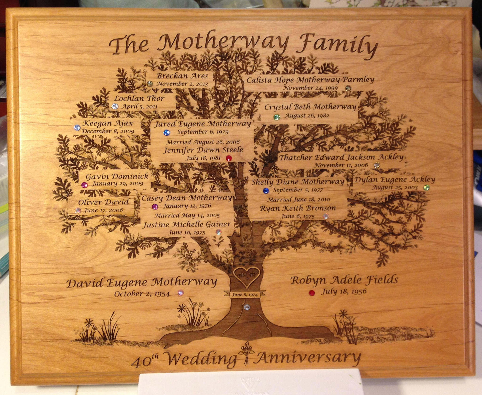Motherway 40th Anniversary Family Tree Plaque