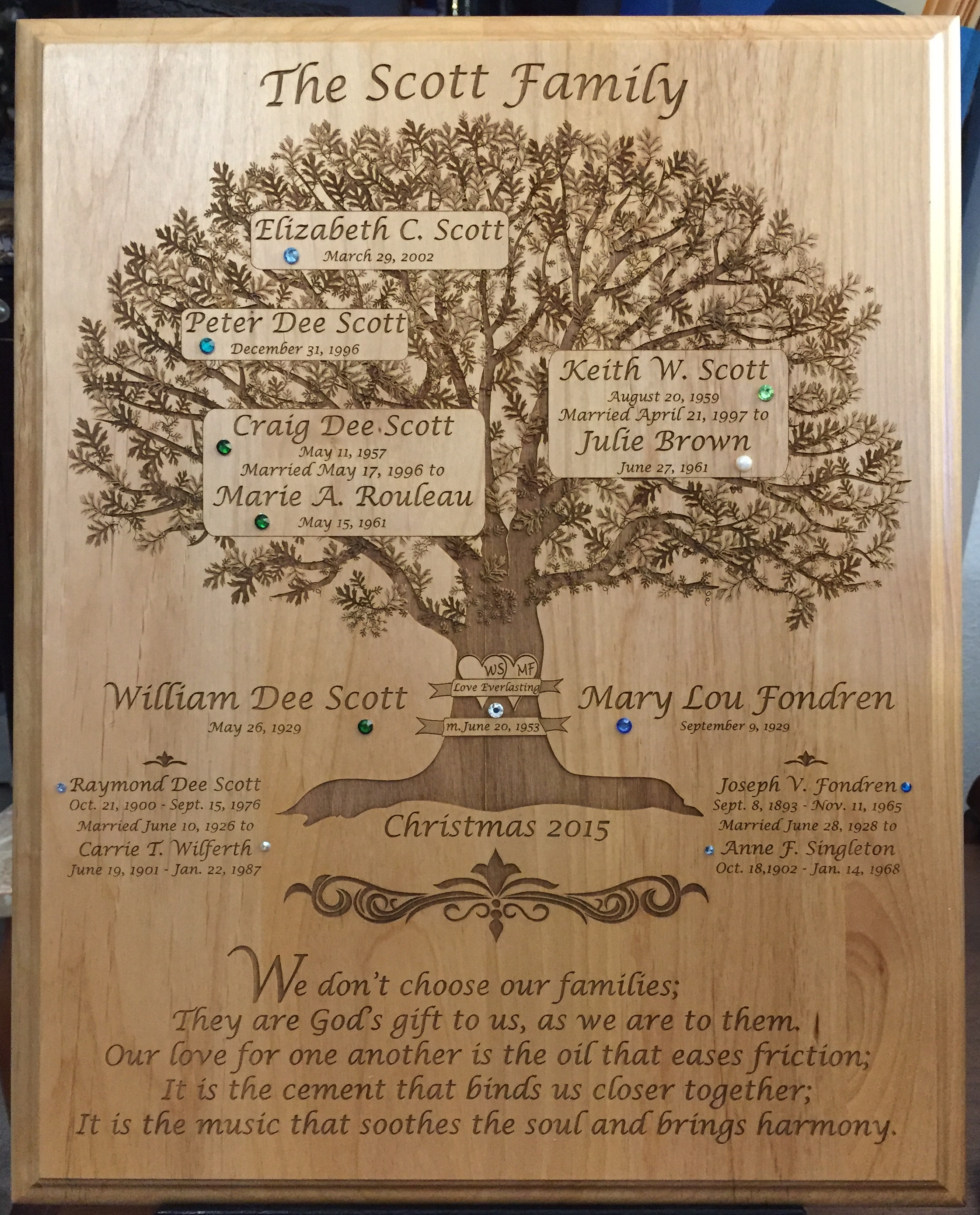 scott family tree plaque
