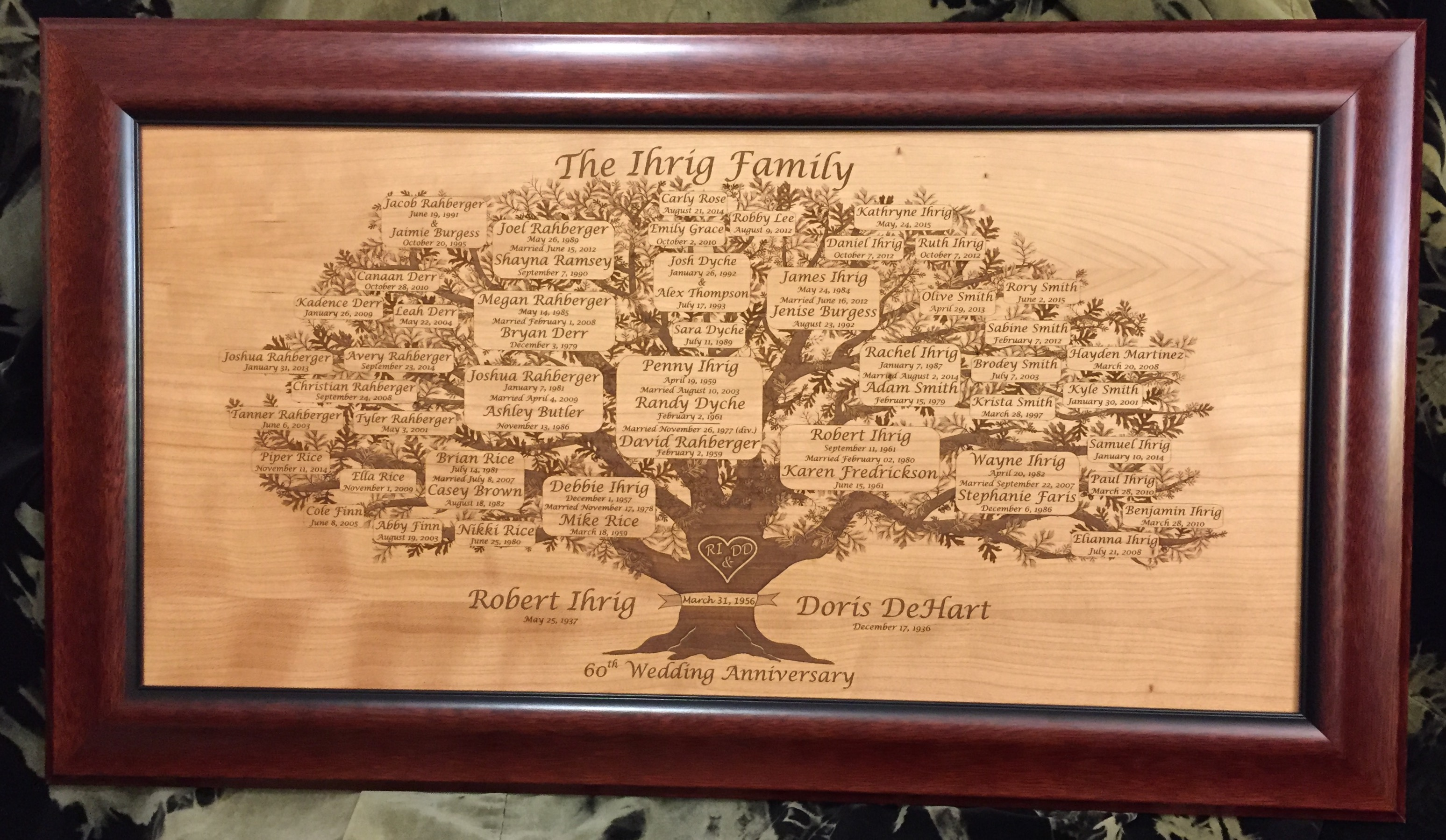 Family Tree Laser Engraved Wood Engraving T Family